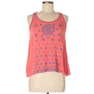 THML Embroidered Gauzy Coral Sleeveless Tank